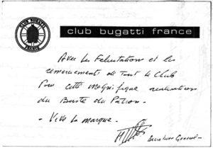 Remerciements du Club Bugatti